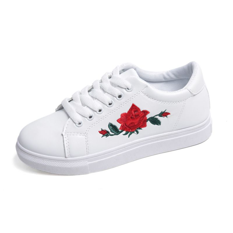2017 new springautumn women casual shoes embroider floral rose price tracker and history of 2017 spring new rose flowers embroidered womens shoes ladies casual shoe breathable white shoes fashion female flat heel girl mightylinksfo