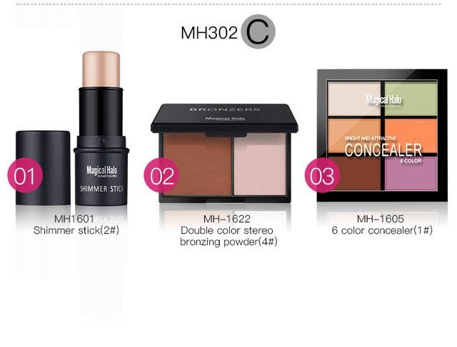 2018 new magic halo cosmetic cream + cosmetic powder + highlight stick multi-color combination set