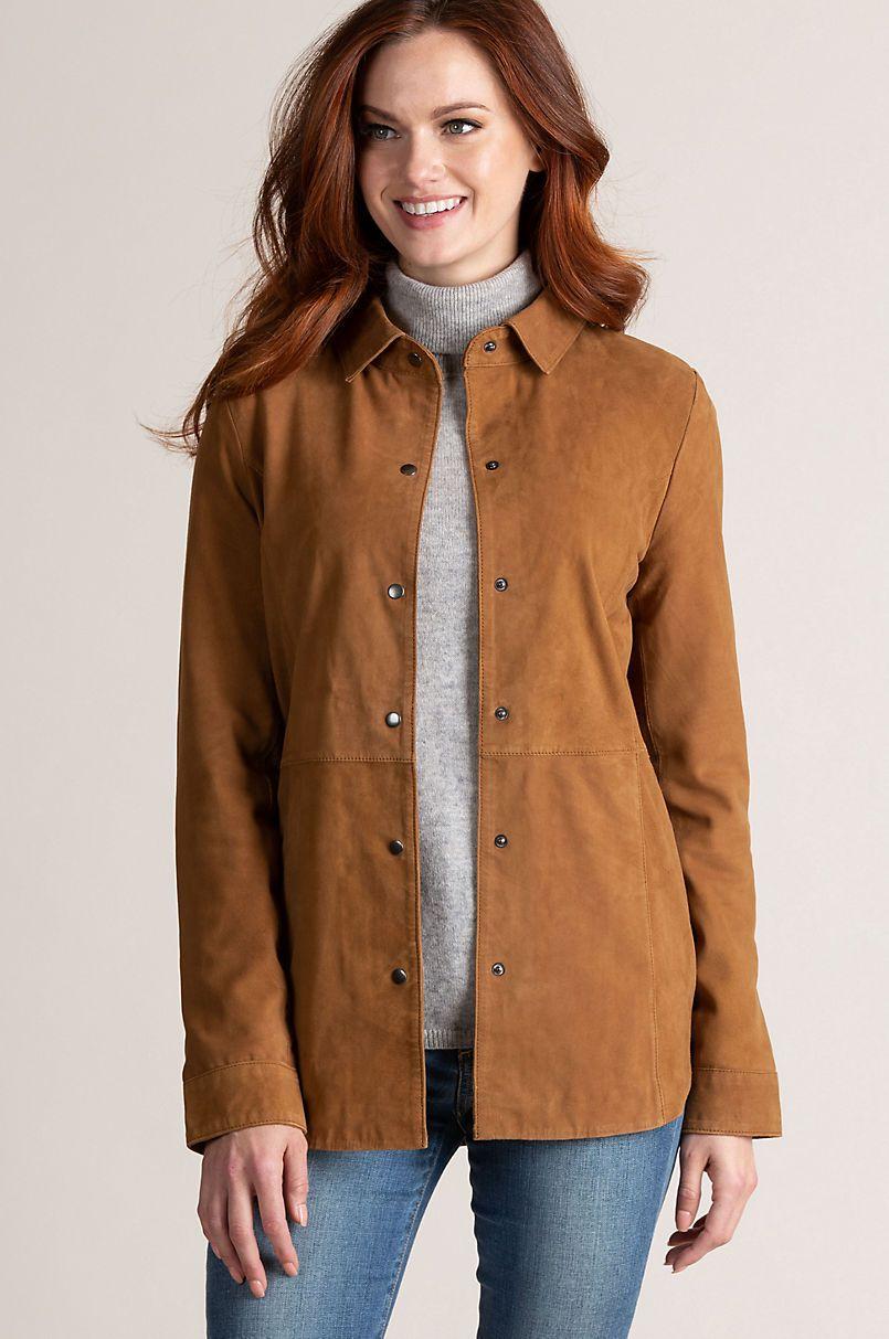 a835381dff87e Reesa Goatskin Suede Shirt Jacket