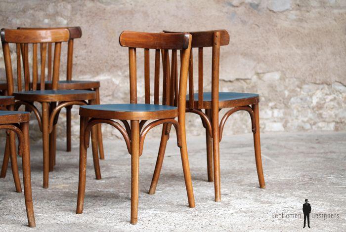 Lot de 8 chaises bistrot baumann en bois, assise bleu