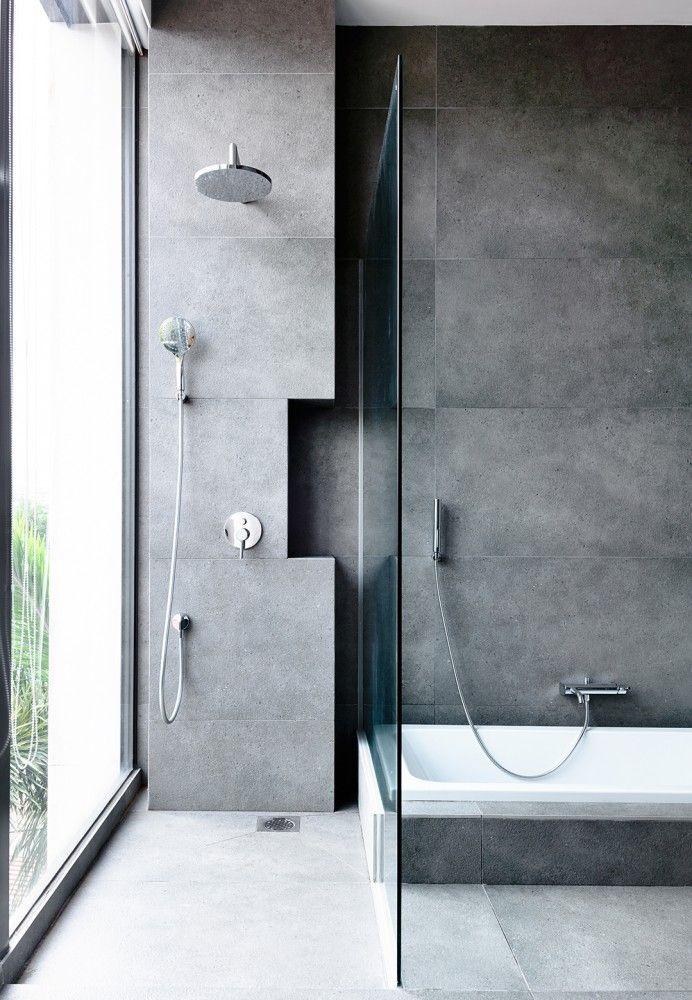 Schlichtes Grau, gewaltige Wirkung! Tolles Badezimmer mit - badezimmer grau design