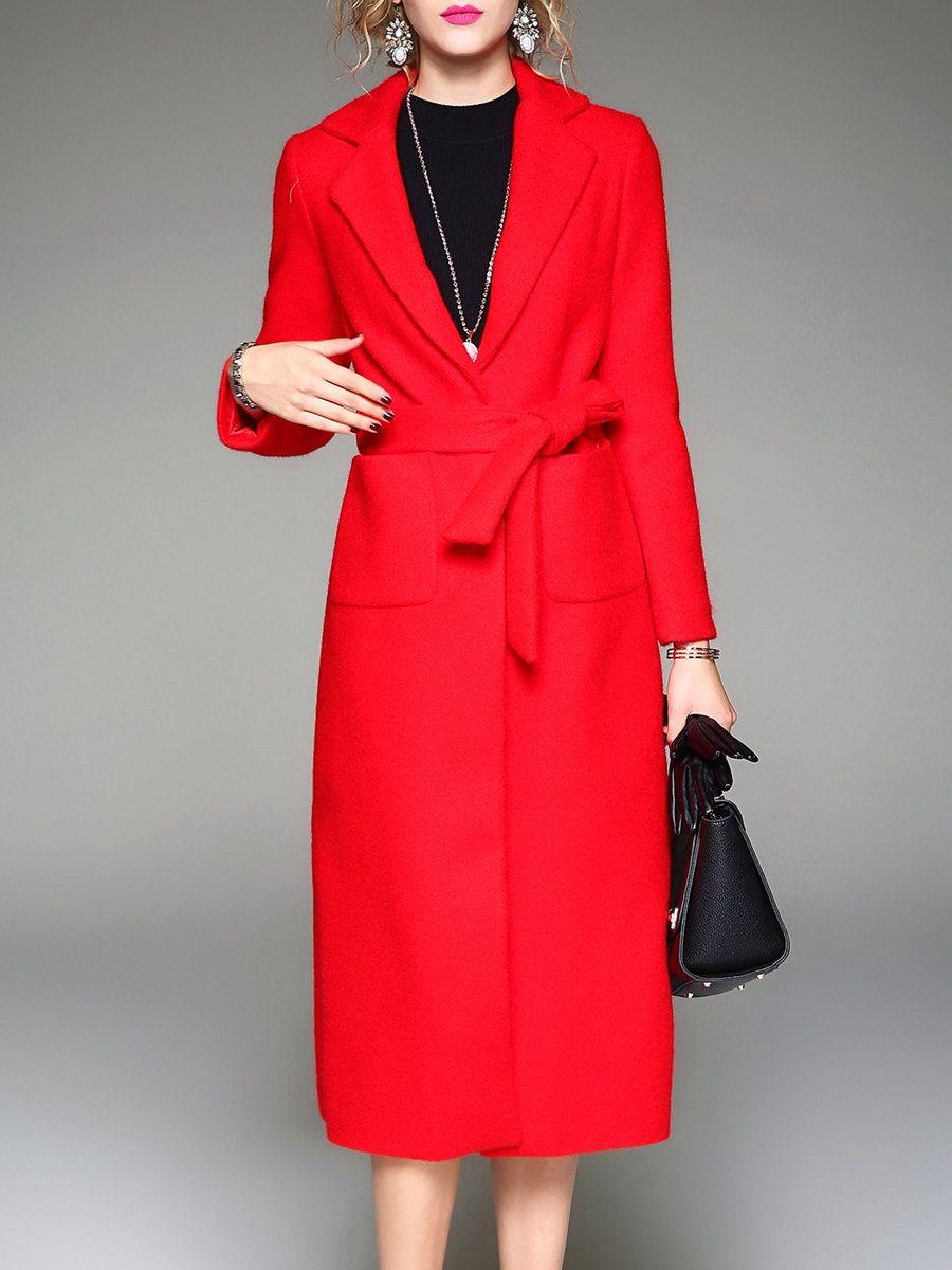 Adorewe stylewe coats qeexi red long sleeve aline mohair pockets
