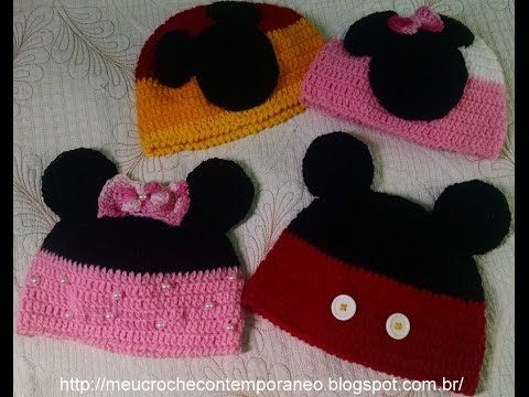Touca Mickey e Minnie Tamanho de 4 a 6 Anos 1ª parte Base para as to ... 6a3b7d9a7da