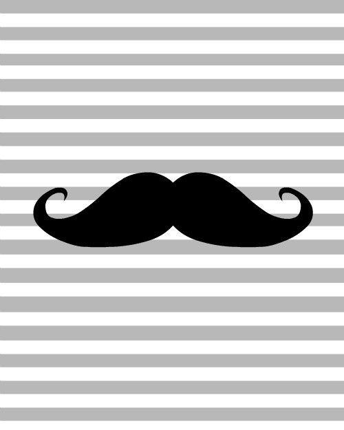 Mustache Print Gray Stripes 8x10 Mustache Wallpaper Mustache Print Mustache Art