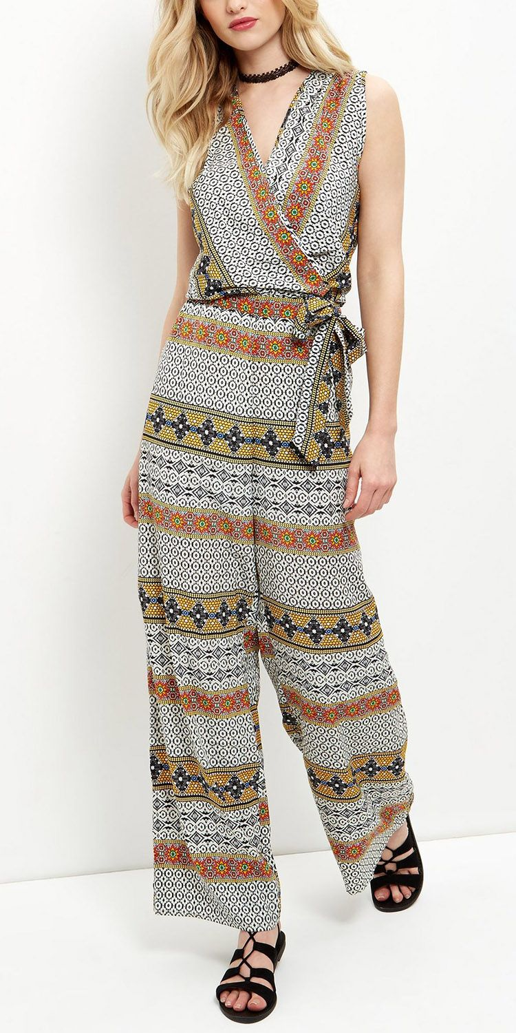 Apricot white stripe tile print belted jumpsuit new look