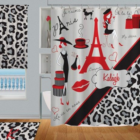 Red And Black Paris Shower Curtain With Gray Cheetah Print