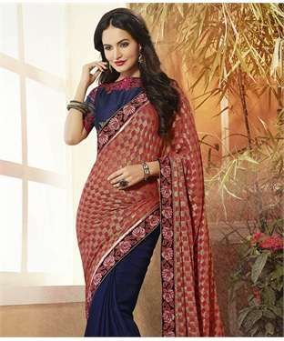 Georgette Jacquard Saree with Blouse | I found an amazing deal at fashionandyou.com and I bet you'll love it too. Check it out!