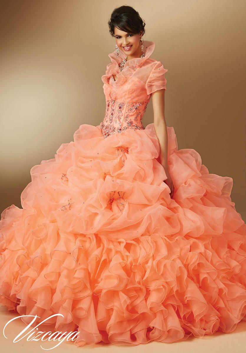 Vizcaya 89044 Organza Quinceanera Dress Pink Peach Attire