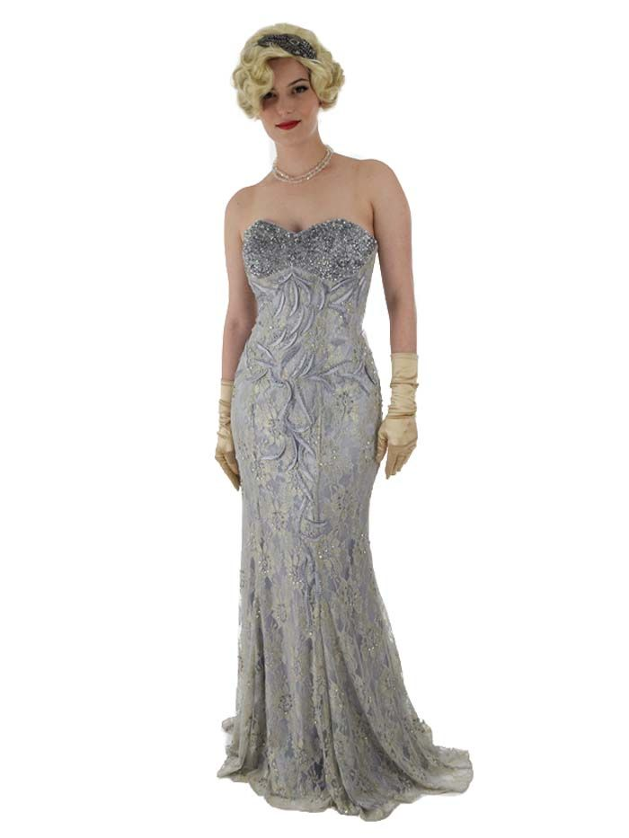 40s Inspired Old Hollywood Glam Silver Satin Sequined Lace Gown ...