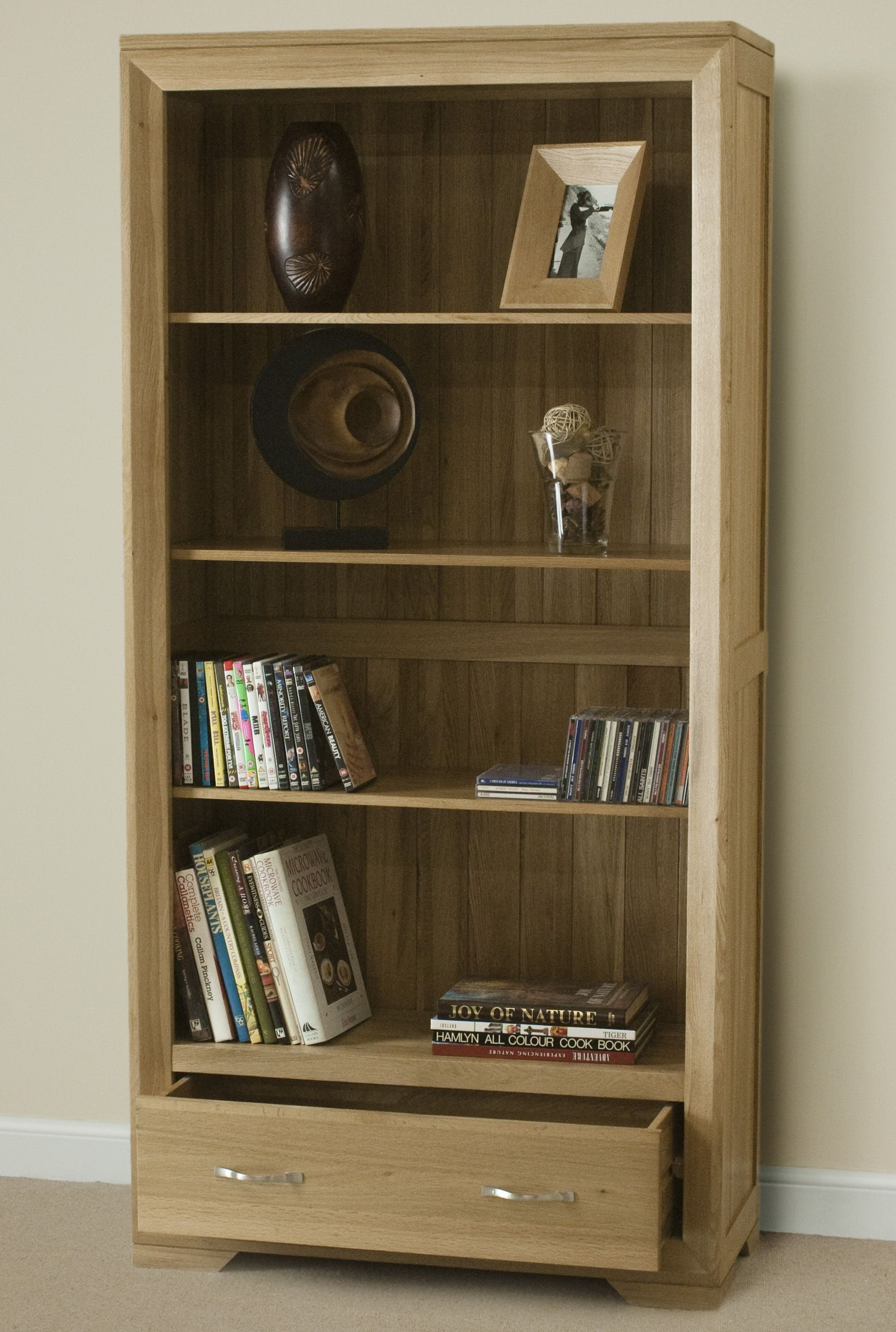 Bevel Natural Solid Oak Tall Bookcase Bookcase Tall Bookcases Wooden Bookcase