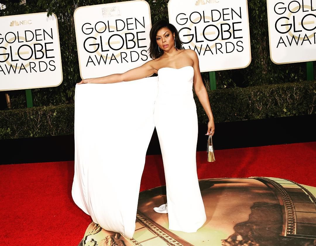 """""""Does @TarajiPHenson know how to work the red carpet in her @StellaMcCartney gown or what? Go to the link in our bio for more #GoldenGlobes style."""""""