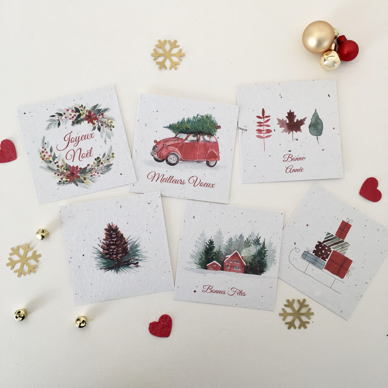 6 Cartes de voeux pour Noël rouge/vert à planter, kit de 6 minis