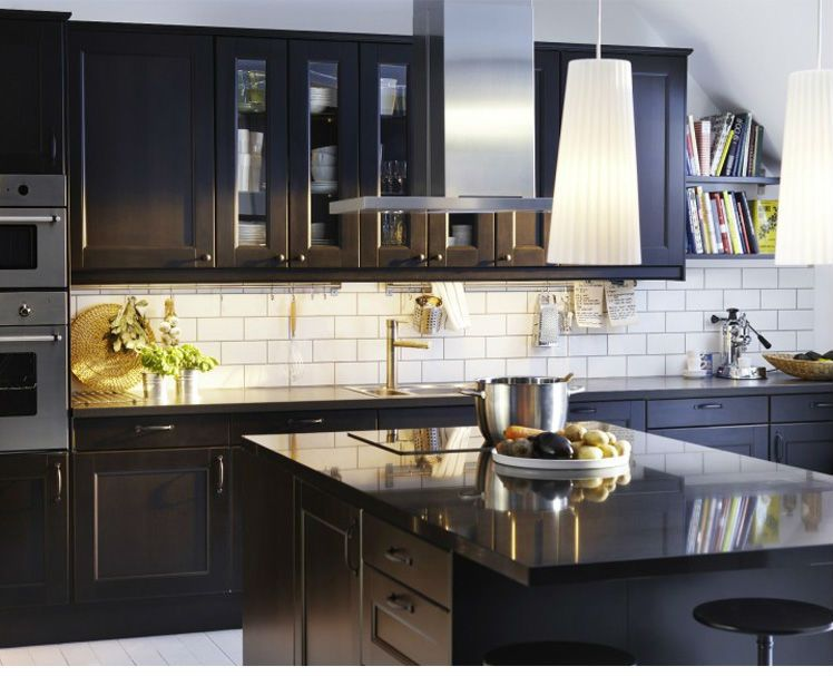 black shaker cabinets - Google Search | Черная кухня ...
