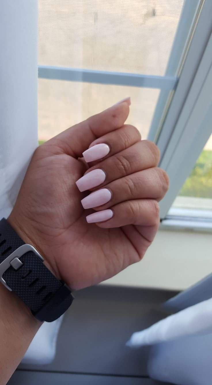 Coffin shaped nexgen nails. Loved this natural light pink color ...