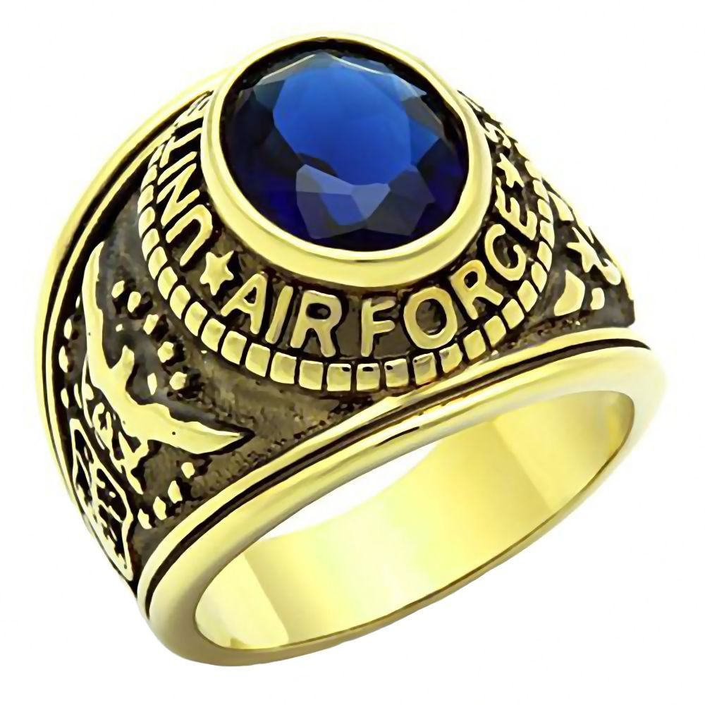 eebc744ca0f7b Air Force G: Mens US Air Force Service 316L Steel Ring and IP 14K ...
