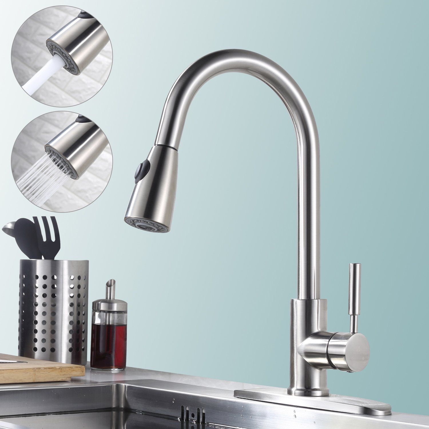 Homelody Stainless Steel Pull Down Kitchen Faucet With Sprayer ...