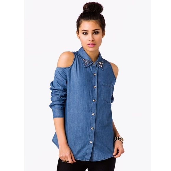 efb2b79ac253a Cold Shoulder Chambray Studded Collar Shirt Forever 21 Blue Denim Cutout Cold  Shoulder Chambray Studded Collar Blouse Shirt.