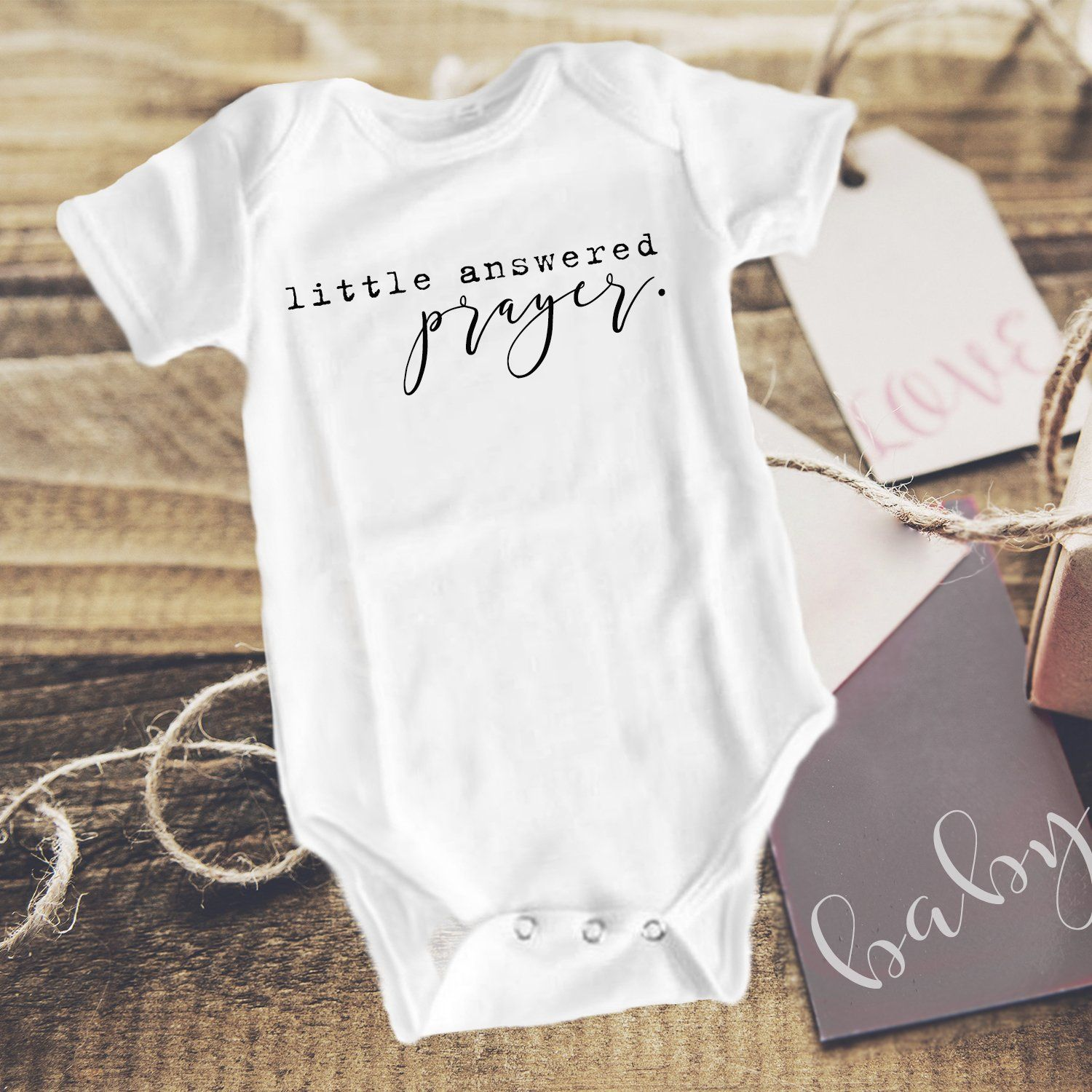 51799a353 Little Answered Prayer Baby Announcement Onesies®, Pregnancy ...