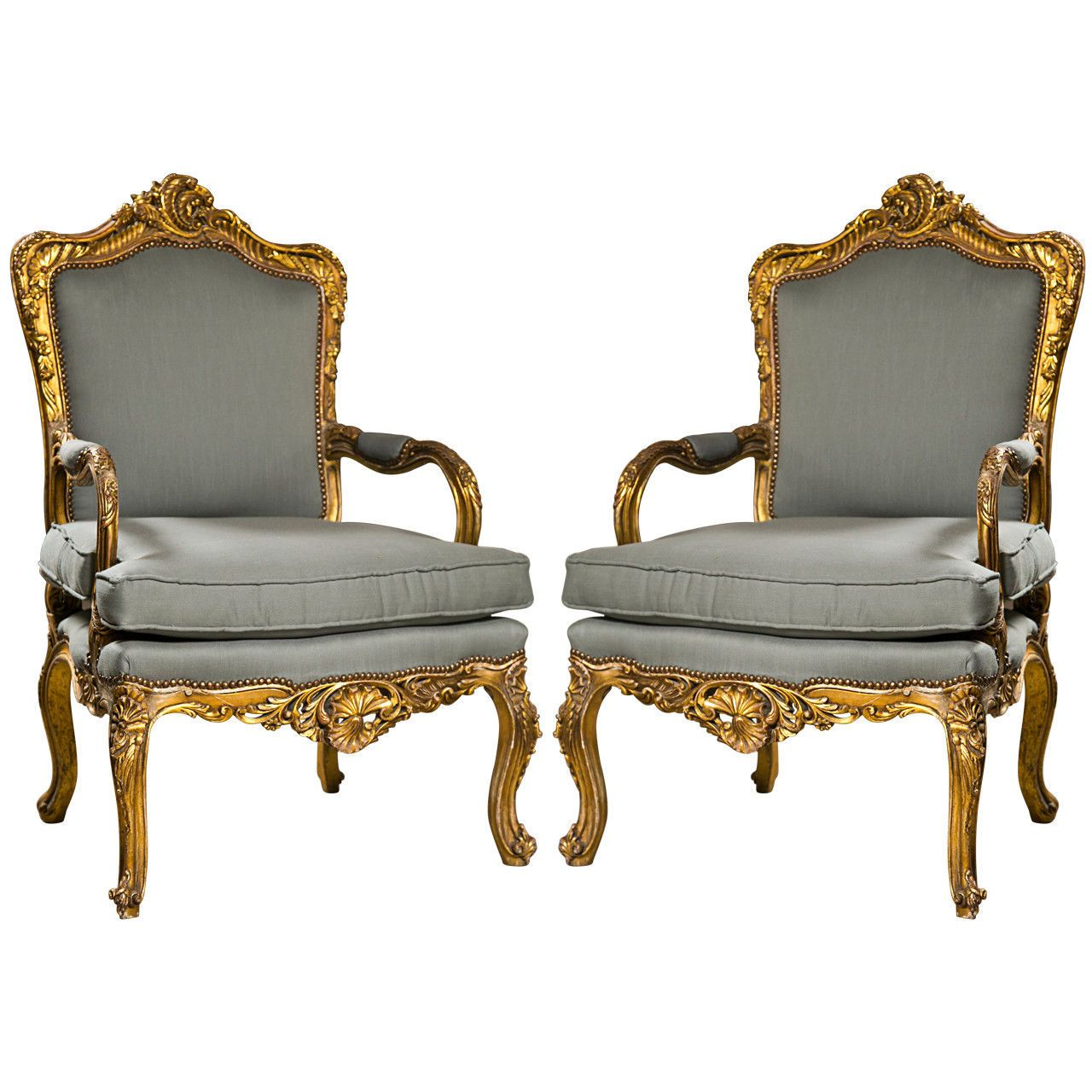 Styles Fauteuils Pair Of French Rococo Revival Style Giltwood Arm Chairs Fauteuils