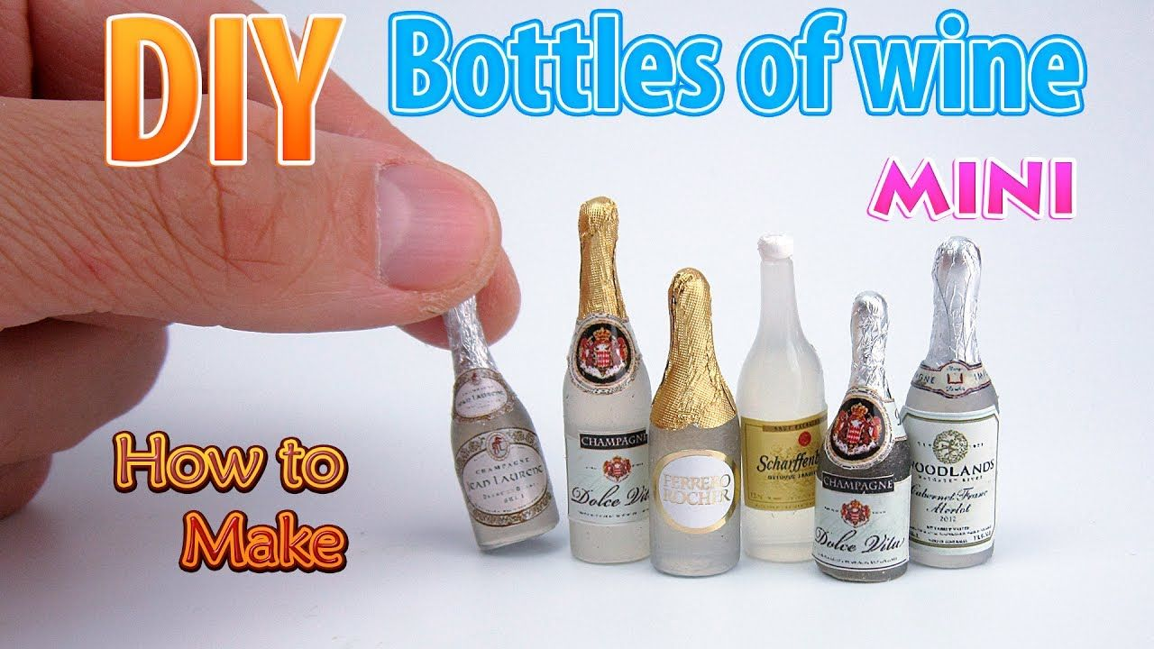 DIY Miniature Wine Bottles | DollHouse food, accessories and Toys for Barbie | No Polymer Clay! #dollhouseminiaturetutorials