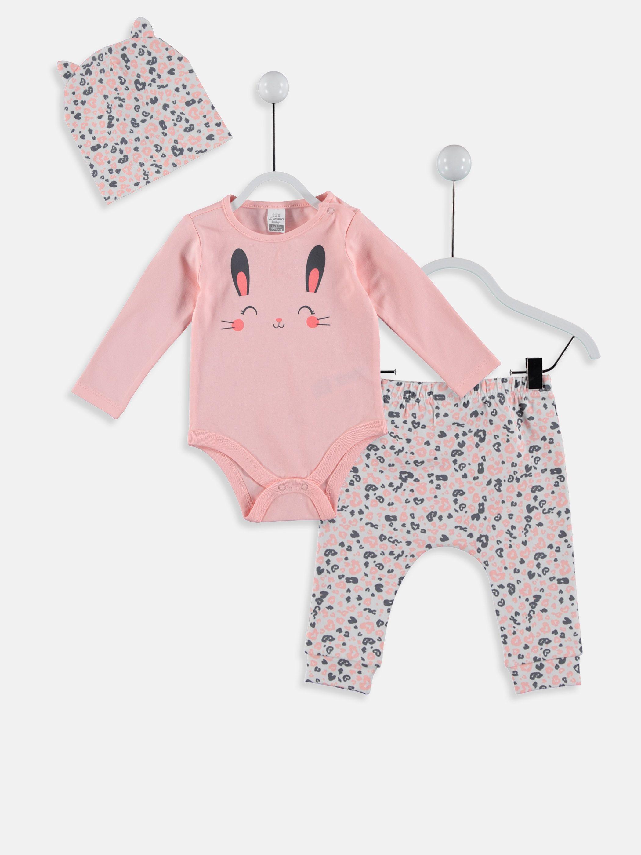 bcd6d376029b Kız Bebek Çıt Çıtlı Body Pantolon ve Bere -8WN261Z1-FXB - LC Waikiki Baby