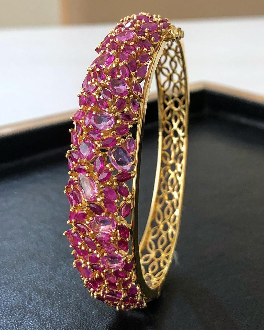 A montage in Rubies . Beautiful bangle studded with montage and rubies.  sultanjewels chennai 20 July 2018 ffba0a8d9612