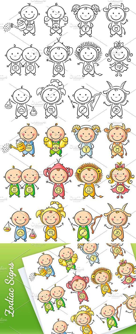 Set of zodiac signs as little babies Zodiac signs