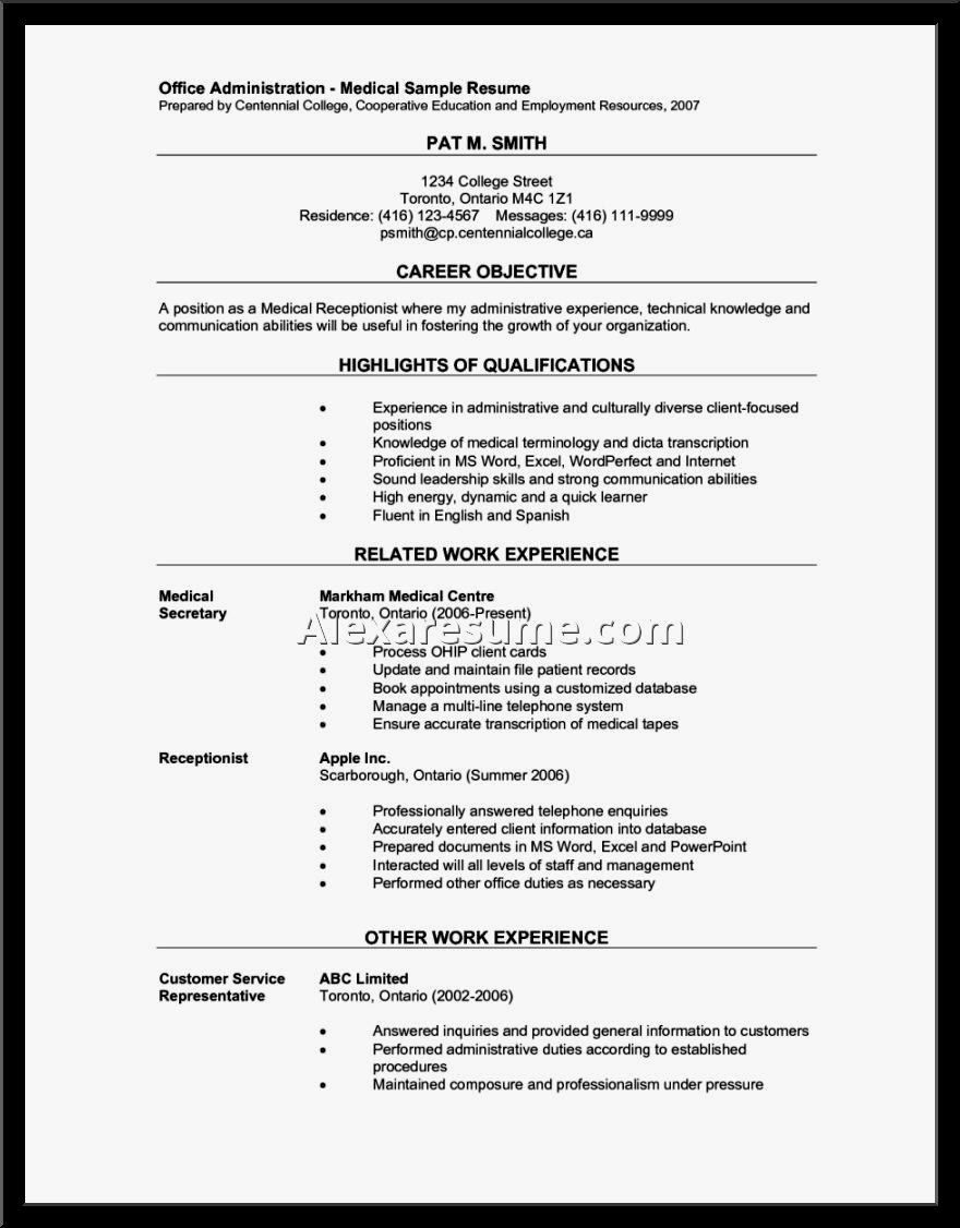 23 Medical Receptionist Resume Example in 2020 Medical