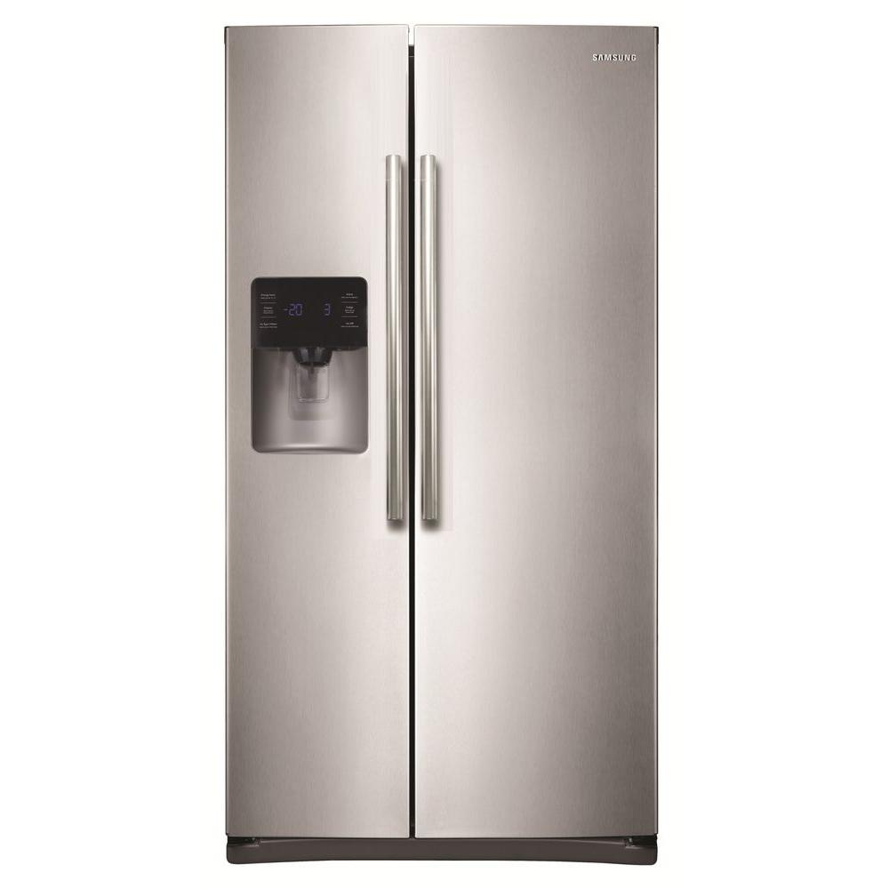 Samsung 24 5 Cu Ft Side By Side Refrigerator In Stainless Steel Over The Range Microwaves Stainless Steel Microwave Electric Range
