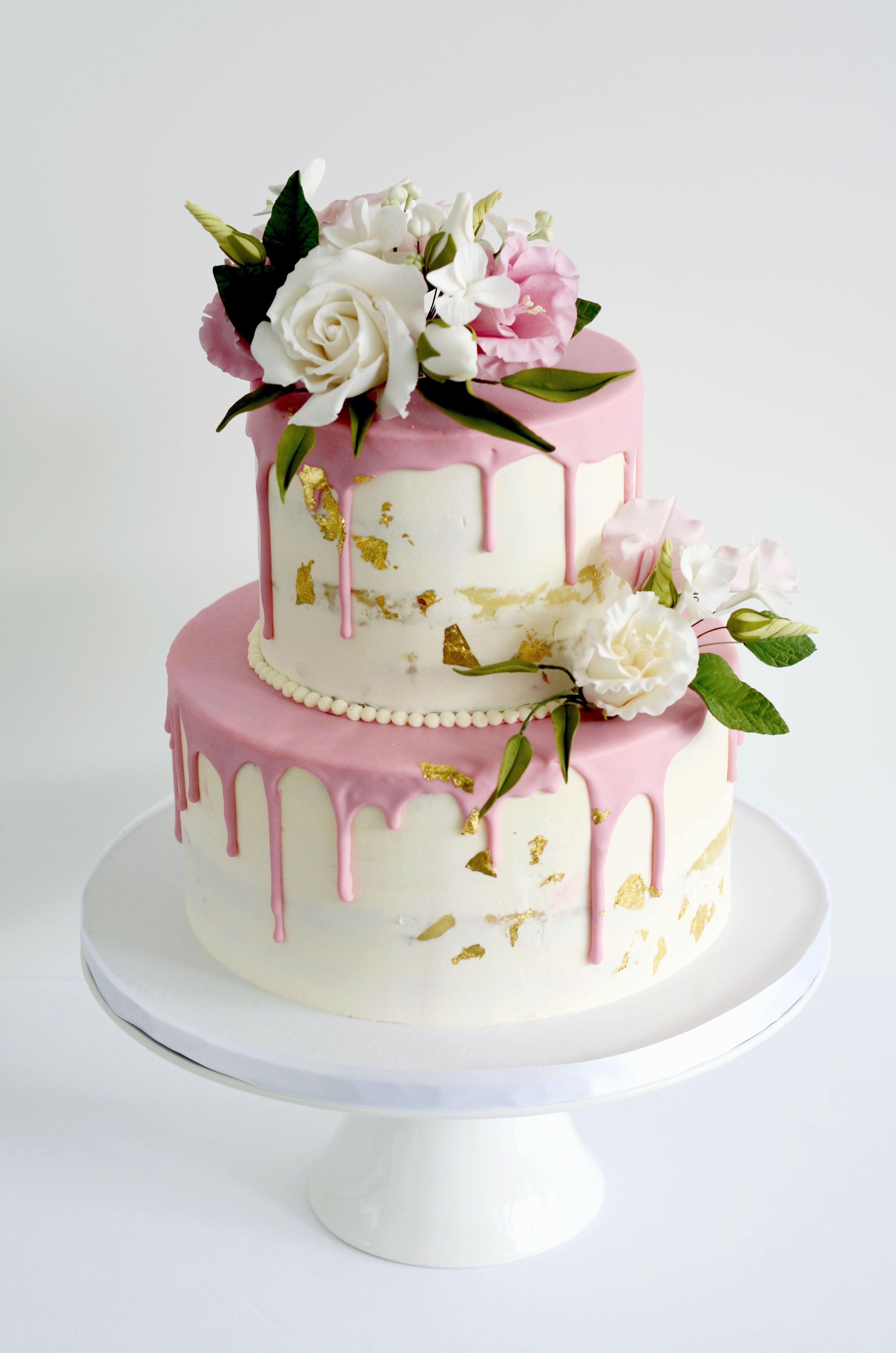 Pink Drip Cake Semi Naked With Sugar Flowers Dripcake Cake