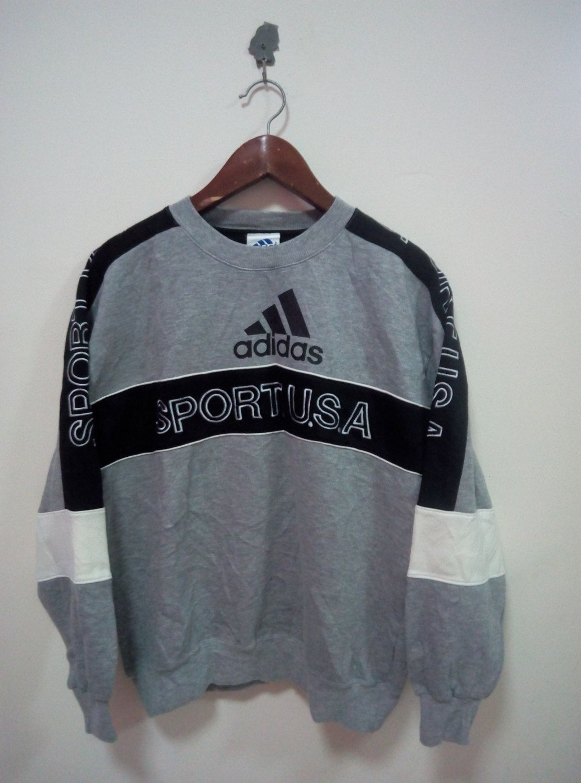 Rare!! Vintage Adidas Big Logo Sweatshirt Spell Out Pullover Jumper Crewneck Long Sleeves Large Size rFCLbTpJ