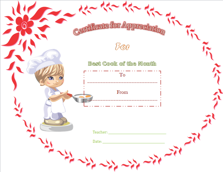 Best Cooking Appreciation Certificate Template  Certificate Of