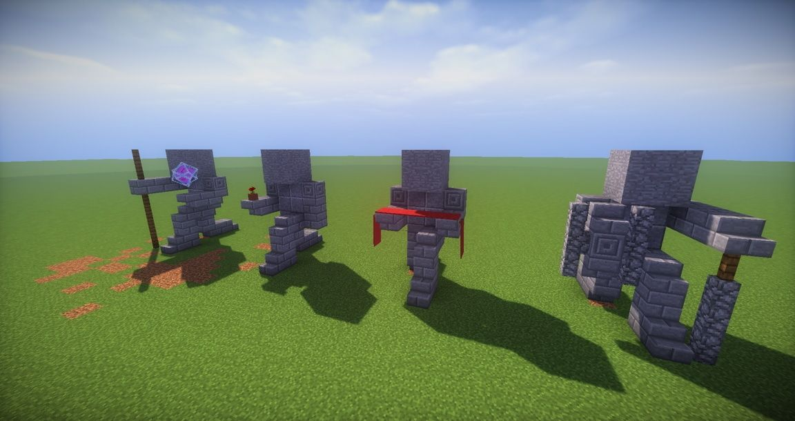 minecraft designs 11 small kneeling statues easy build for miencraft ideas