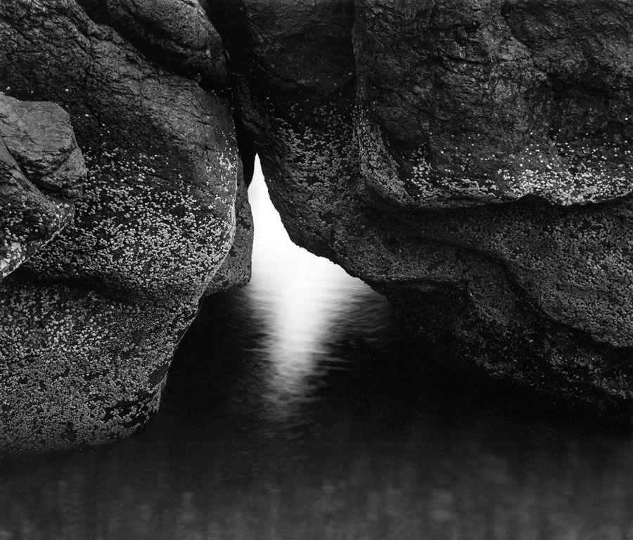 Paul Caponigro Nahant Seahorse Boulder And Light 1965 Black