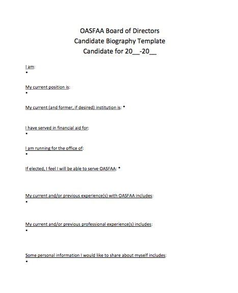 Candidate Biography Template  Writing Template    Template