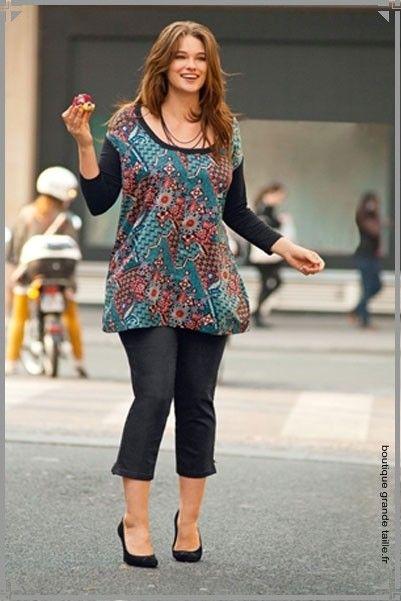 Corsaire brillant noir, collection femme ronde fashion a5b14380c9d4
