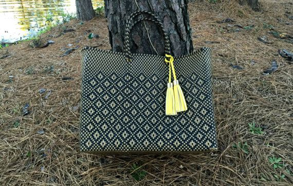 Handwoven Plastic Bag Beach Summer Tote Woven Large