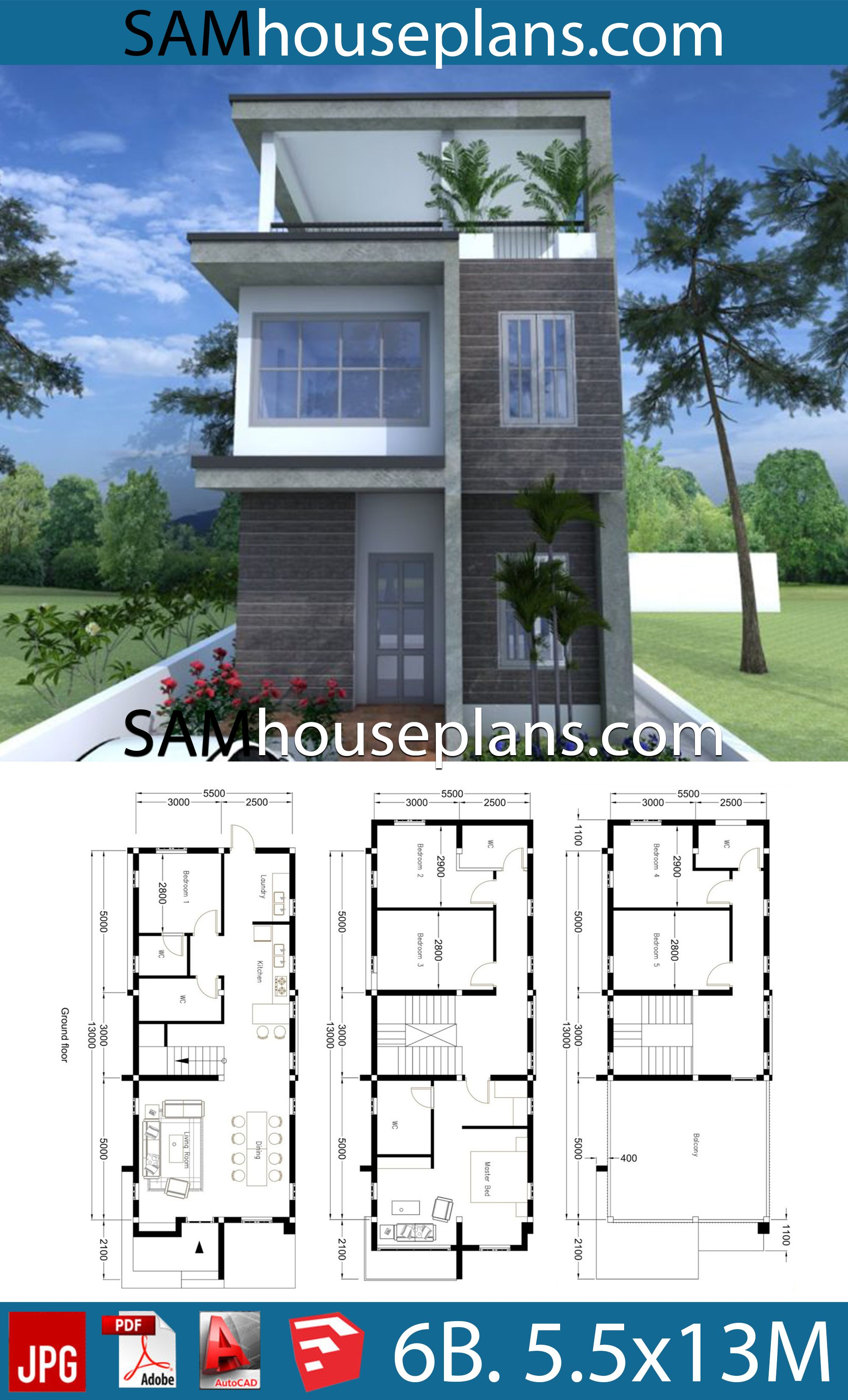 House Plans 5 5x13 With 6 Bedrooms Sam House Plans Architectural House Plans Model House Plan House Plans