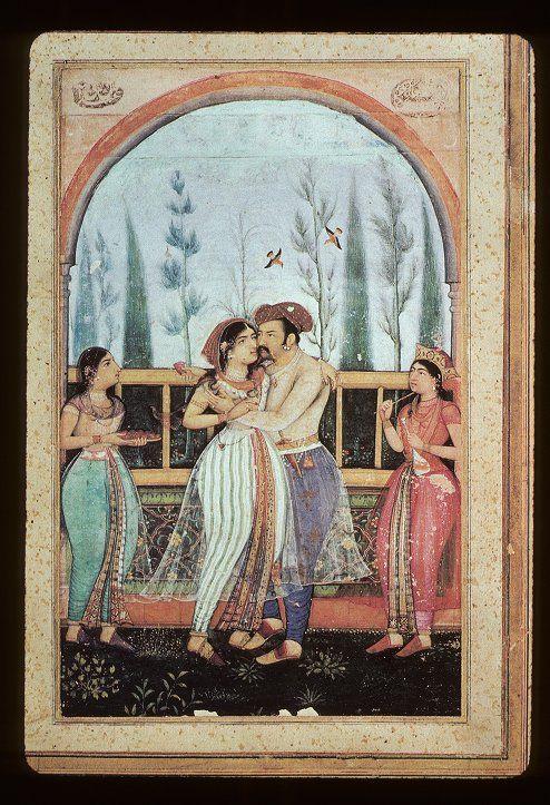 mughal miniature painting | Jahangir embracing Nur Jahan, Mughal miniature painting