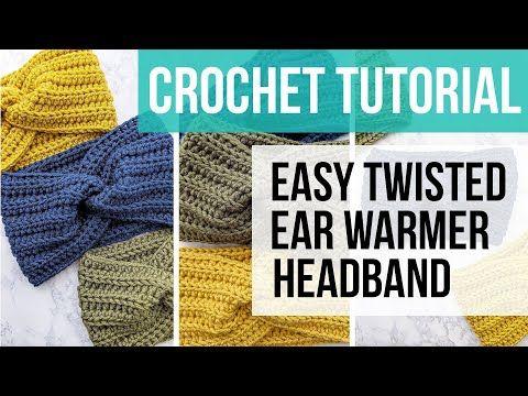Crochet Twisted Ear Warmer Headband #crochetedheadbands