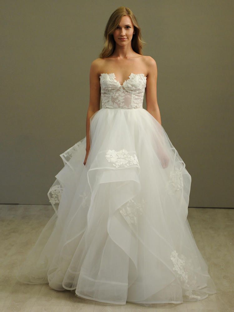 Hayley Paige Ivory Tulle Ball Gown Wedding Dress Strapless Lace Corset Bodice Cascading