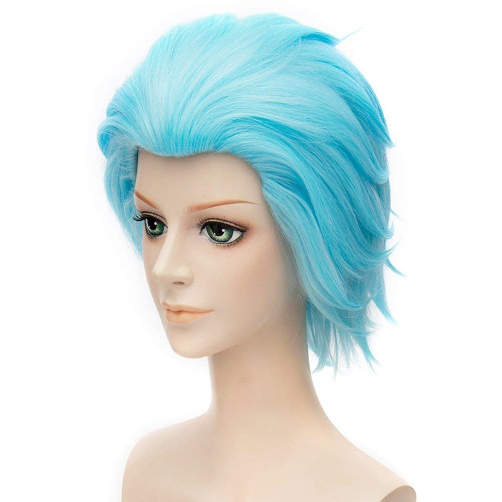Halloween Costumes Makeup The Seven Deadly Sins Cosplay Costume Wig Short Ainme Party Ice Blue Hair Halloweenmakeupideas Ice Blue Hair Short Wigs Blue Hair