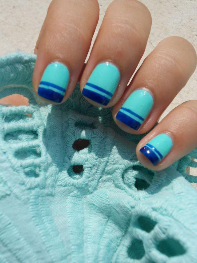 blue double french manicure | Nails | Pinterest | Manicure, Nails ...