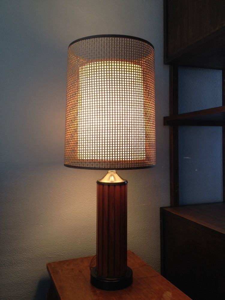 Mid Century Wood Lamp Woven Rattan Fibergl Shades Vintage Brown