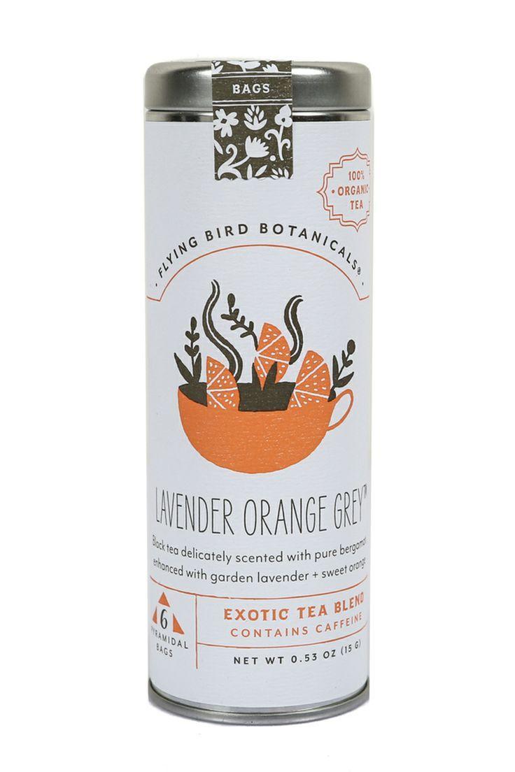 Lavender Orange Red Herbal Tea by Flying Bird Botanicals #teapackaging