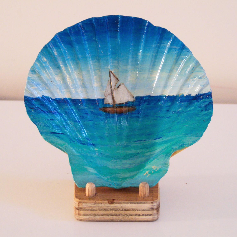 peinture sur coquillage paysage marin bateau voilier art fran ais de la boutique. Black Bedroom Furniture Sets. Home Design Ideas