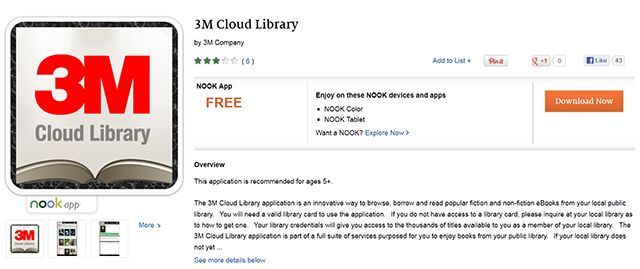 3M Cloud Library App Hits the Nook Android Store Library