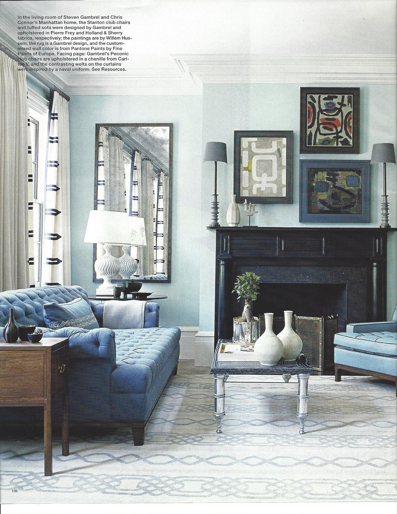 Best Blue Club Chairs Blue Tufted Sofa Monochromatic Living 400 x 300
