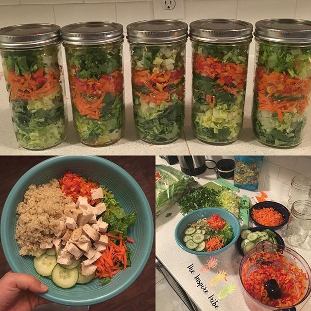 Salad in Jar  Went ahead and made my salads for the week while I made dinner #winning #saladfordays