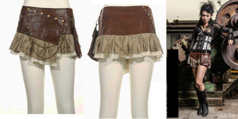 RQ-BL Rock Steampunk PU Leder Victorian Lolita Gothic Lace Brown Mini Skirt